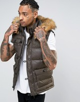SikSilk Padded Vest Jacket With Faux Fur Hood