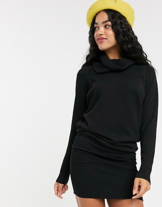 Pimkie high neck midi jumper dress in black