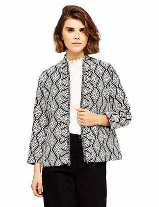 Find. Women's Jacket in Jacquard with Open Front Shawl Collar Unlined