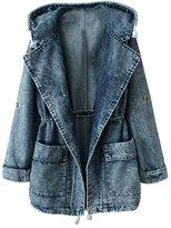 Alionz Women Autumn Denim Hooded Waisted Wrap Jacket Trench Coat Outwear One