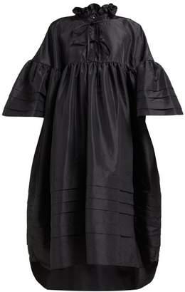 Cecilie Bahnsen - Mabel Ruffle-neck Pintuck-trim Taffeta Dress - Womens - Black