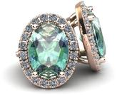 Ice 2 3/8 CT TW Green Amethyst 14K Rose Gold Halo Stud Earrings with Diamond Accents