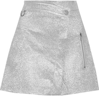 Derek Lam 10 Crosby Wrap-effect Patent-leather Mini Skirt