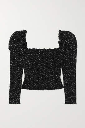 Reformation Elisabetta Cropped Smocked Polka-dot Georgette Top - Black