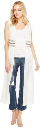 Steve Madden Women's Solid Tie Front Duster Vest W Trim Waist