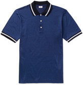 Brioni Slim-Fit Contrast-Tipped Cotton and Silk-Blend Piqué Polo Shirt