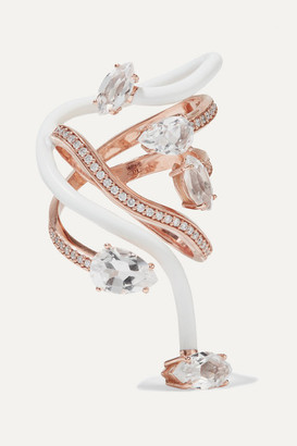 BEA BONGIASCA You're So Vine 9-karat Rose Gold, Enamel, Rock Crystal And Diamond Ring - White