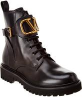 Valentino Logo Combat 35 Leather Boot