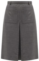 Burberry Inverted Box-pleat Wool-blend Skirt - Womens - Dark Grey