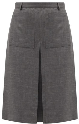 Burberry Inverted Box-pleat Wool-blend Skirt - Dark Grey