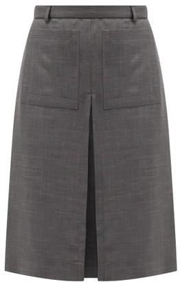 Burberry Inverted Box-pleat Wool-blend Skirt - Womens - Dark Grey