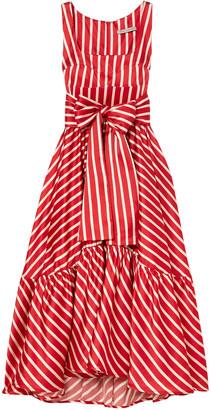 Silvia Tcherassi Samantha Tiered Striped Silk-blend Satin Midi Dress