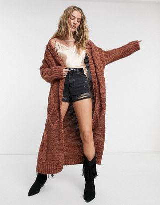 Free People Keep In Touch maxi cardigan in brown