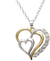 18k Gold-Over-Silver & Sterling Silver Diamond Accent Heart Pendant