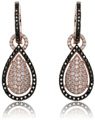 Collette Z Rose-gold Sterling Silver Black and White Cubic Zirconia Pear Shape Earrings