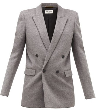 Saint Laurent Double-breasted Virgin Wool And Cashmere Blazer - Womens - Grey