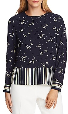 Vince Camuto Floral-and Stripe Top