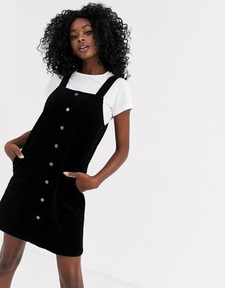 New Look cord button through mini dress in black
