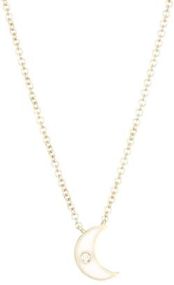 Ef Collection 14K Yellow Gold, Diamond & Enamel Moon Pendant Necklace