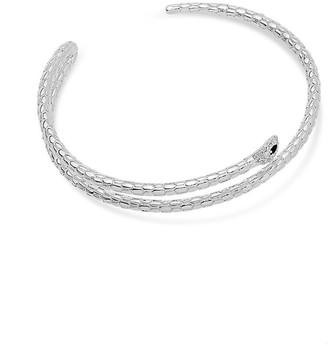 Sterling Forever Rhodium Plated Cz Snake Cuff Bracelet