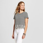 ISANI for Target Women's Striped Scalloped Embroidered Knit Top