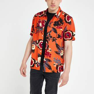 Lee Mens River Island Orange floral regular fit shirt