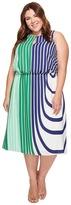 Adrianna Papell Plus Size Beta Stripe Printed Georgette Blouson Halter Midi Dress Women's Dress