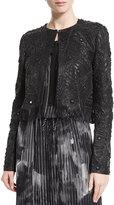 Elie Tahari Gavin Embroidered Leather Jacket, Black