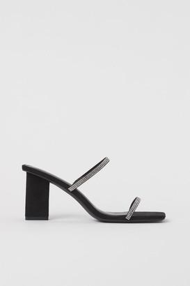 H&M Rhinestone-strap Sandals - Black