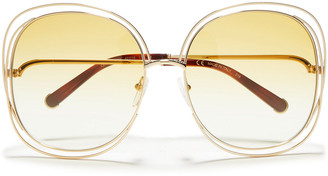 Chloé Oversized Round-frame Gold-tone And Acetate Sunglasses