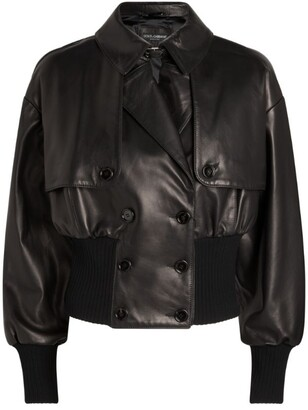 Dolce & Gabbana Leather Cropped Bomber Jacket