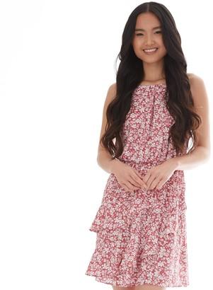 Iz Byer Juniors' Twisting Flounces Dress