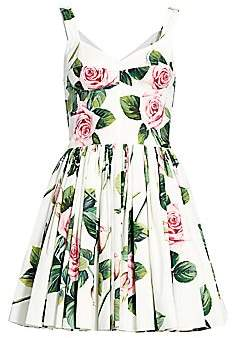 Dolce & Gabbana Women's Rose Print Bustier Fit-&-Flare Dress