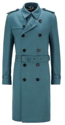 HUGO BOSS Regular Fit Trench Coat With Logo Lining - Light Green