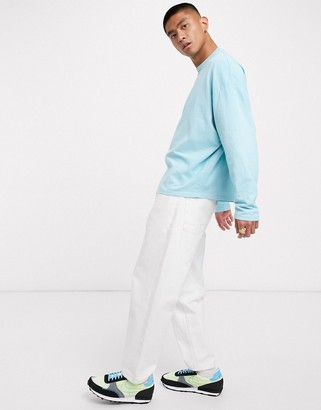 ASOS DESIGN oversized long sleeve t-shirt in heavyweight blue acid wash