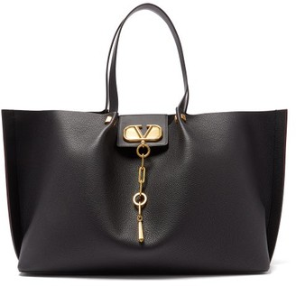 Valentino Escape V-logo Large Grained-leather Tote Bag - Womens - Black