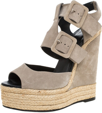 Pierre Hardy Grey Suede Ankle Strap Espadrille Platform Wedge Sandals Size 40