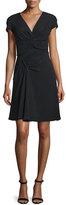 J. Mendel Short-Sleeve Fit-&-Flare Dress, Noir
