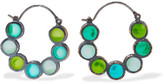 Bottega Veneta Oxidized Silver Crystal Hoop Earrings - Green