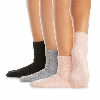 LA Active Fuzzy Socks - 4 Pairs - Non-Skid Anti-Slip Grip for Home & Hospital (Dove Grey S/M)