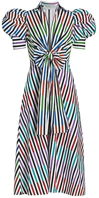 Silvia Tcherassi Roopal Striped Puff-Sleeve Bow Midi Dress