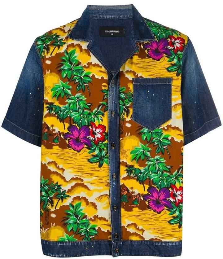 DSQUARED2 Hawaiian print denim shirt