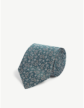 Eton Squared-off knitted wool and cotton-blend tie