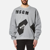 Msgm Print Detail Sweatshirt Grey