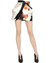 Blumarine Draped Cotton Satin Skirt