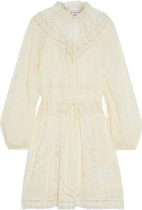 Zimmermann Sabotage Lace-trimmed Flocked Tulle-paneled Seersucker Mini Dress