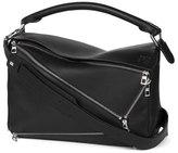 Loewe Puzzle Zips Leather Satchel Bag, Black