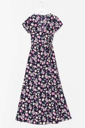 Nasty Gal Womens Freshly Picked Floral Wrap Maxi Dress - Navy - 6