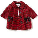 Bonnie Jean Bonnie Baby Baby Girls Newborn-24 Months Plaid Long-Sleeve Coat and Color Block Dress Set