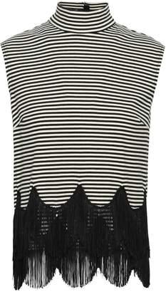 Marc Jacobs Fringe-trimmed Striped Cotton-jersey Turtleneck Top